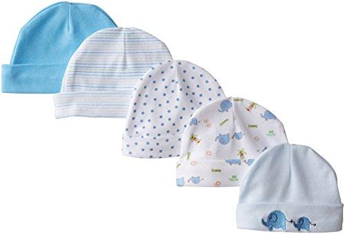 spasilk-baby-boys-newborn-5-pack-cotton-hats-blue-elephant-0-6-months