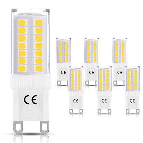 LOHAS® G9 LED Lampe, 5W Ersatz für 40W Halogen Lampen, warmweiß, Energiesparlampe Lampe 3000K, 400LM, 360° Abstrahwinkel, LEDLampe, LED Birnen, LED Leuchtmittel, 220-240V AC, 6er Pack