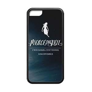 Black, 5C Case - Pierce the Veil Lyrics Photo Design Durable Rubber Tpu Silicone Case Cover For Apple iPhone 5C