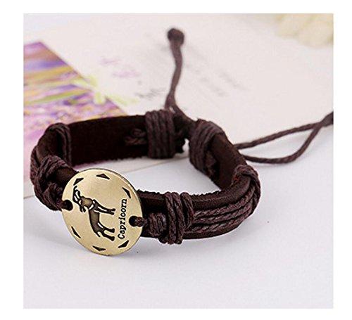 Fariishta Jewelry Handmade Capricorn Constellation Genuine Leather Wrap (Braid Dolphin Belt)