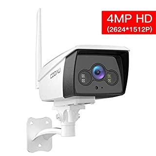 Outdoor Security Camera, COOAU 4MP HD Bullet Surveillance 5dBi WiFi IP CCTV Camera, IP66 Waterproof with Night Vision, White Light, Motion Detection, Two-Way Audio, Support Cloud Service& Alexa