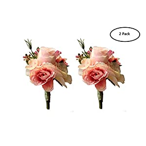 MOJUN Artificial Rose Flower Boutonniere Handmade Floral Silk Fabric for Grooms Groomsmen Prom Party Wedding Decor, Pack of 2, Pink 30