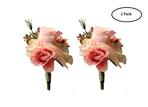 (MOJUN Artificial Rose Flower Boutonniere Handmade Floral Silk Fabric for Grooms Groomsmen Prom Party Wedding Decor, Pack of 2, Pink)
