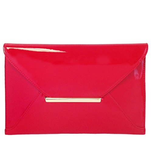 Faux Patent Leather Envelope Candy Clutch Bag (Candy Apple Red)