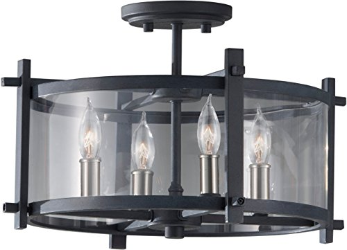 Feiss SF292AF/BS Ethan Glass Semi Flush Ceiling Lighting, Iron, 4-Light (16