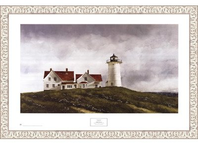 Framed Ferry Watch  32X23 5 Inches   Art Print  White Wash Frame