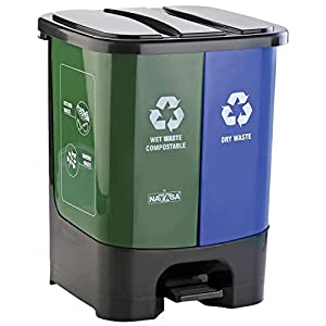 Nayasa 2 in 1 Dustbin – Dry Waste and Wet Waste Dustbin (19 Ltrs) – Small