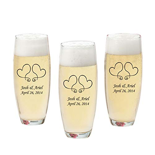 Personalized Printed Stemless Champagne Flutes - (Set of 24) - Personalized Champagne Glasses - Monogrammed Champagne Flutes - Two Hearts