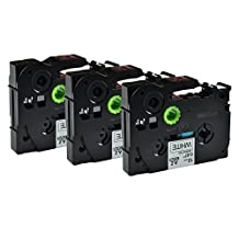 Greencycle 3 Pack Black on White Label Tape P-Touch Compatible for Brother TZ 231 TZe 231