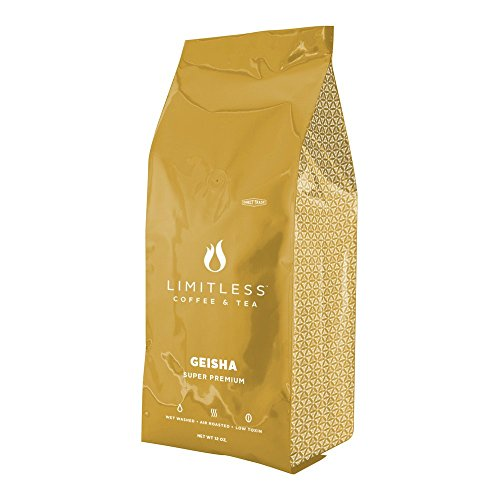 Limitless Coffee Whole Bean Air Roasted Coffee, Geisha Super Premium, 12 Ounce
