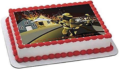 Cool Fireman Firefighter Personalised Rectangle Fondant Icing Cake Funny Birthday Cards Online Inifofree Goldxyz