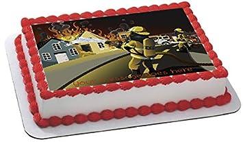 Feuerwehr Firefighter Personalisiert Rechteck Fondant Kuchen