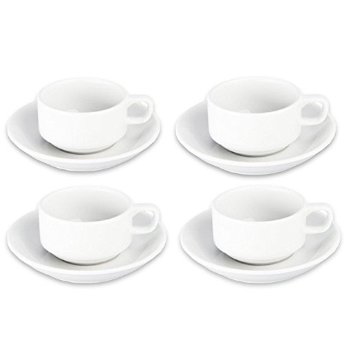Bia Dinnerware Set - BIA Cordon Bleu Bistro Espresso Cup and Saucer, Set of 4, White (901610S4)