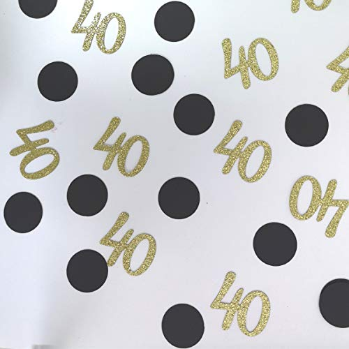 - 100 Counts Number 40 and Polka Dot Paper Confetti Table Scatter for 40th Birthday Party Supplies (Gold and Black)