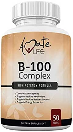 Vitamin B Complex High Potency –Vitamin B12, B1, B2, B3, B5, B6, B7 Biotin Supplement Supports Healthy Metabolism, Nervous System & Energy Production- Made in USA - 50 Tablets by Amate Life