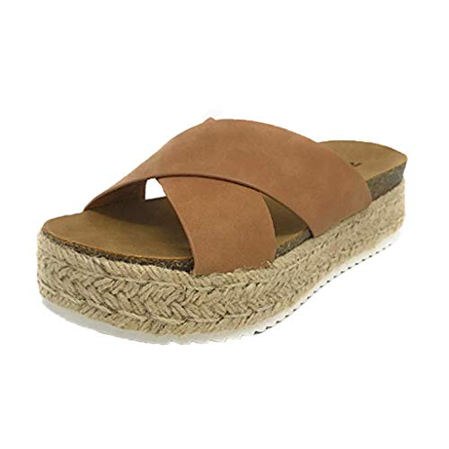 Women Platform Espadrille Sandals, Criss Cross Strap Thick Bottom Slippers Slide-on Open Toe Summer Shoes (40 US7.5, Brown)