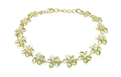 - Honolulu Jewelry Company 14k Yellow Gold Plated Sterling Silver Plumeria Bracelet with CZs - 10mm