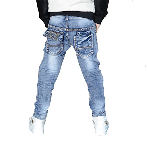 Little Hand Little Boys' Straight Elastic Denim Pant Jeans Blue 6-7Y