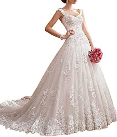 cb70f29b2983 Dressylady Gorgeous A Line Cap Sleeve Beaded Lace Applique Wedding Dress  for Bride