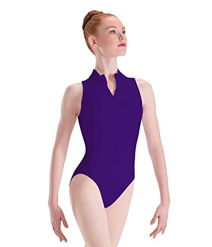 - Motionwear Zip Front Mock T High Cut Leotard, Ultraviolet, Medium Adult