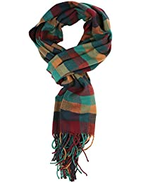 Women's Cashmere Feel Winter Plaid Scarf Burgundy Teal