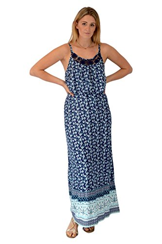 Blue Dress Hem Dress Summer Womens Blue with Maxi Strappy Long Lace Floral ccvWP0q