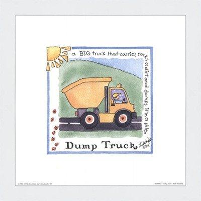 Poster Palooza Framed Dump Truck- 8x8 Inches - Art Print (Classic White Frame)