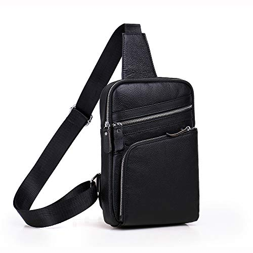 Colors Chest Casual Bag Messenger Leather Kids Two Optional Men's Black Genuine Shining xwaRUTqz