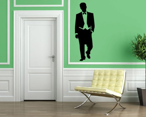 Handsome Man in Smoking Suit Classic Fashion Statement Mural Wall Art Decor Vinyl Sticker P048 (Statement Banner)