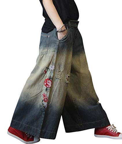 YESNO PDH Women Casual Loose Denim Pants Skirt Floral Jeans Distressed Embroidery Ripped Wide Leg Pockets