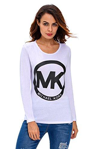 Nuevas señoras blanco MK Lace Up Back camiseta de manga larga Club wear ropa tamaño s UK 10UE 38