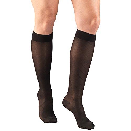 Truform 1783, Women's Diamond Pattern (15-20 mmHg) Graduated Compression Stockings, Large, (Diamond Pattern Trouser Socks)