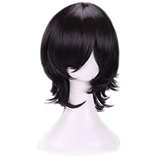AneShe Men's Short Layered Hair Anime Cosplay Wig Party Wig (Black)