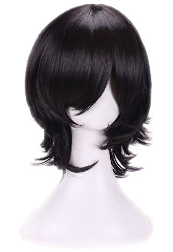 AneShe Mens Short Layered Hair Anime Cosplay Wig Party Wig (Black)