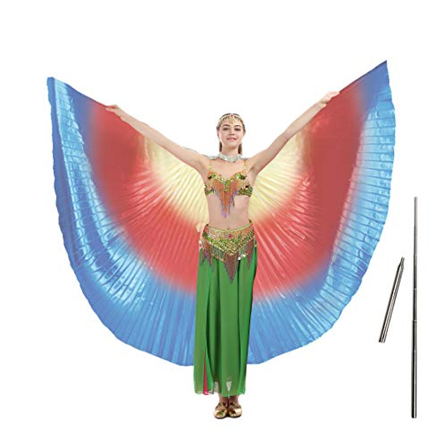 (iMucci 140CM With Stick 360 Degree Egypt Indian Belly Dance Wing Fan Bellydance Isis Wings (Adult rainbow))