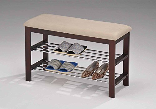 (Legacy Decor Walnut and Beige Wood Shoe Bench with Two Metal Racks and Vinyl Seat)