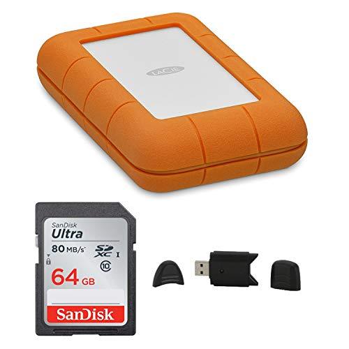 (LaCie Rugged Thunderbolt USB-C 5TB Portable Hard Drive + SanDisk 64GB Ultra UHS-I Class 10 SDXC Memory Card + MMC MultimediaCard & SD Secure Digital Reader USB Bundle)