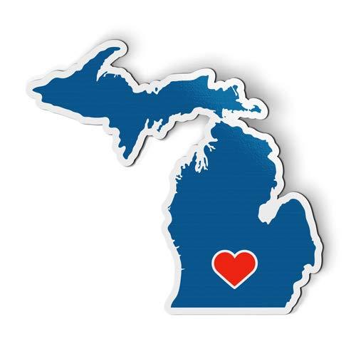 AK Wall Art Michigan Home Heart State Shape Blue - Magnet - Car Fridge Locker - Select Size ()
