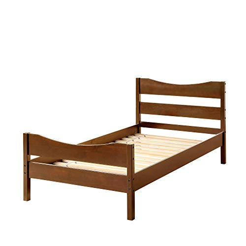 Merax Wood Platform Bed Frame Mattress Foundation with Headboard & Wooden Slat Support, Twin (Walnut)