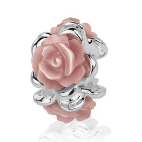 Cyber week Special, Jovana Sterling Silver Blossom Bead Charm with Pink Roses, Fits Pandora Bracelet