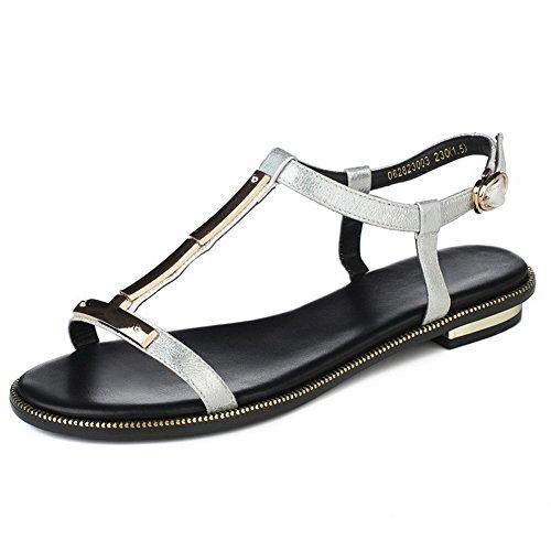 Low Solid Silver Microfiber Toe heels Sandals Women's Buckle Open AgooLar tzHqx15c