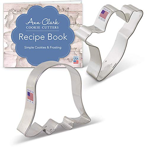 Cute Ghost Cookie Cutter Set Set with Recipe Book - 2 piece - Ann Clark - USA Made Steel -