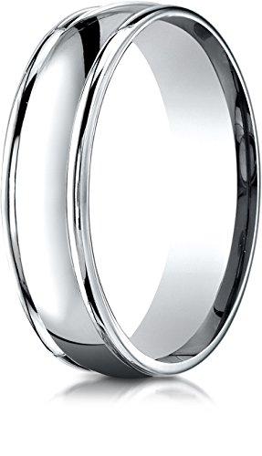 Benchmark 14K White Gold 6mm Comfort-Fit High Polish Finish Round Edge Design Wedding Band Ring, Size 8 ()