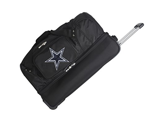 "NFL Dallas Cowboys Rolling Drop-Bottom Duffel Bag, 27 x 16 x 14"", Black"
