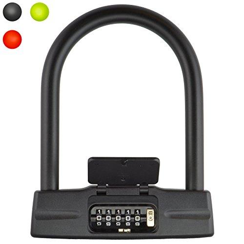 Lumintrail 18mm 5-Digit Bike Combination U-Lock - Black