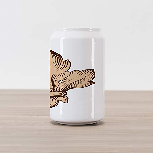 Lunarable Vintage Modern Cola Can Shape Piggy Bank, Baroque Acanthus Leaves Fleur de Lis Antique Heraldic Pattern, Ceramic Cola Shaped Coin Box Money Bank for Cash Saving, Brown and Sand Brown