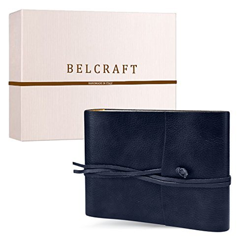 Tivoli Medium Recycled Leather Photo Album, Handmade Classic Italian Style, Including Special Box, A5 (16x21 cm) Navy by Belcraft by Belcraft