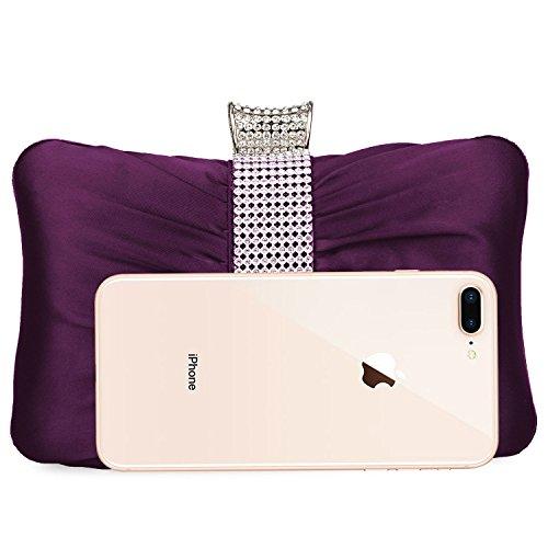 Pleated Lifewish Women Evening For Wedding Womens Bridal Handbag Satin Purple Clutch Prom Purse Party Girls Cwr5qw7