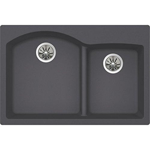 Elkay Quartz Luxe ELXH3322RCH0 Charcoal Offset 60/40 Double Bowl Top Mount Sink with Aqua Divide