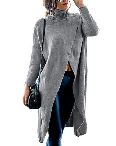 GIKING Women's Casual Plus Size Long Sleeve Chic Loose Knit Turtleneck Pullover Sweater Grey M